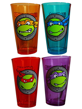 TMNT Colored Pint Glasses Set of 4