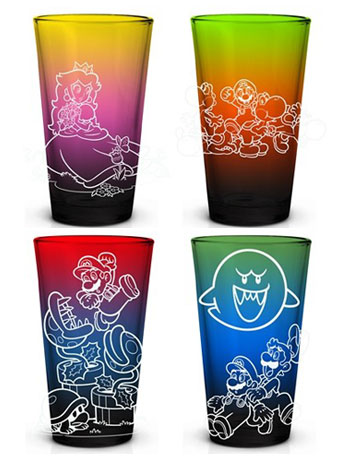 Super Mario Bros. Color Fade Pint Glass Set of 4