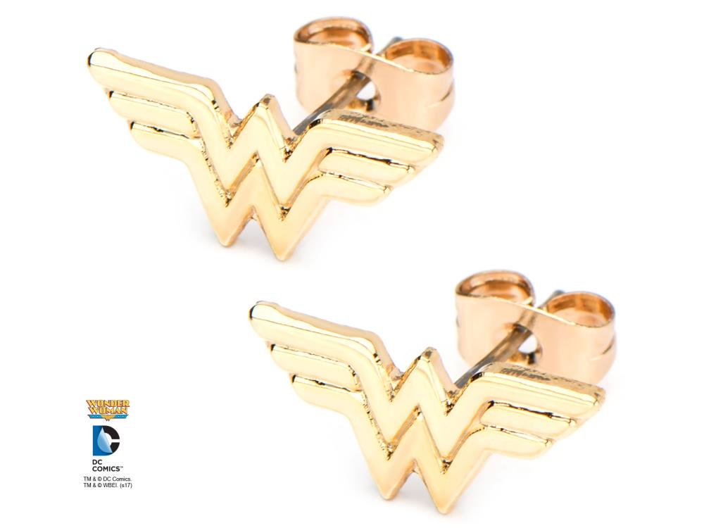 3de6231f6 DC Comics Wonder Woman Logo Gold Plated Stud Earrings