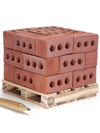 Mini Materials 1/6 Scale Mini Red Bricks (24 Pack) with Pallet