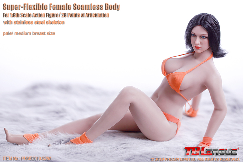 Buxom Woman Super-Flexible 1/6 Scale Seamless Female Body (Pale)