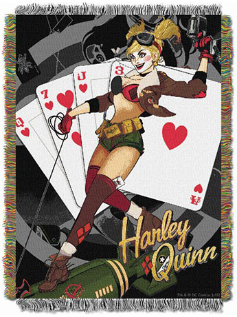 DC Comics Bombshells Harley Quinn Woven Tapestry Throw Blanket