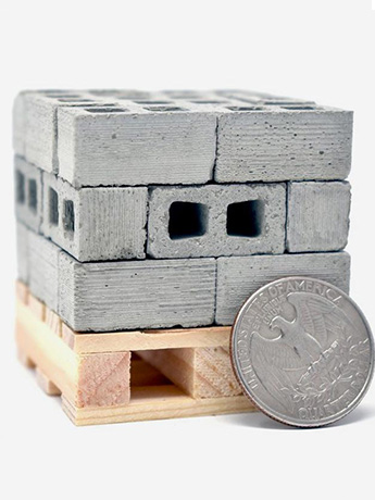 Mini Materials 1/18 Scale Mini Cinder Blocks (24 Pack) with Pallet