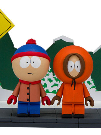 South Park Small Construction Set - Stan & Kenny With The Bus Stop