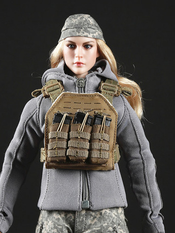 Tactical Female Gunner Camouflage Suit (Multi Camo) 1/6 Scale Accessory Set
