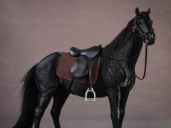 Hanoverian Horse (Black) & Saddle 1/12 Scale Set