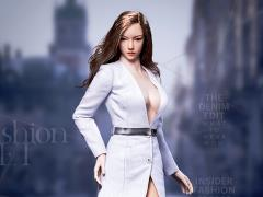 Fashionable Deep V-Neck Trench Coat (White) 1/6 Scale Accessory Set