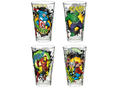 Marvel 16 oz Pint Glasses - Marvel Comics Avengers (Set of 4) - USA ONLY