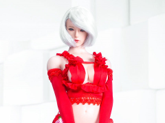 Two-Dimensional Sexy Flower Wedding Dress (Red) 1/6 Scale Accessory Set