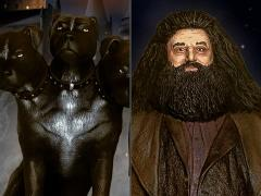 Harry Potter and the Sorcerer's Stone Hagrid & Fluffy Premium Motion Statue