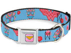DC Comics Wonder Woman (Floral Skull) SeatBelt Buckle Dog Collar