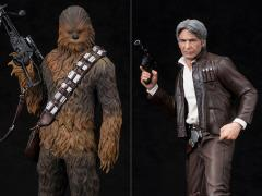 Star Wars ArtFX+ Han Solo & Chewbacca Statue Two Pack (The Force Awakens)