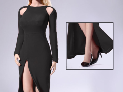1/6 Scale Bare Shouldered Evening Dress - Black