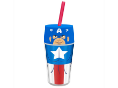 Marvel 14 oz Insulated Tumbler with Straw - Iconic Captain America - USA ONLY