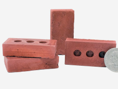Mini Materials 1/4 Scale Mini Red Bricks (4 Pack)