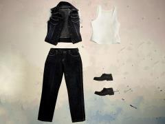 1/6 Scale Black Denim Vest Set