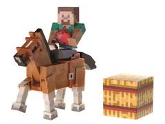 "Minecraft 3"" Steve With Chestnut Horse Two Pack"