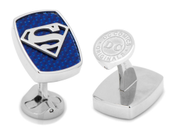DC Comics Superman Logo Stainless Steel Carbon Fiber Cufflinks