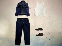 1/6 Scale Blue Denim Vest Set