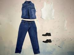 1/6 Scale Light Blue Denim Vest Set