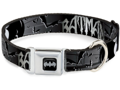 DC Comics Batman (Bat Signals & Flying Bats) SeatBelt Buckle Dog Collar