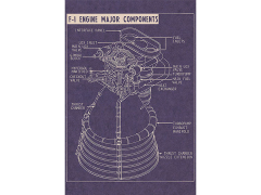 F-1 Engine Aero-Art Blueprint Poster