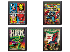 Marvel Comic Covers Printed Glass Art Set of 4