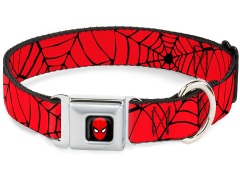 Marvel Spider-Man Spider Web (Red/Black) SeatBelt Buckle Dog Collar