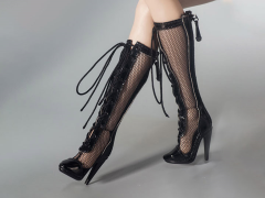 Female Fashion Fishnet Boots (Black) 1/6 Scale Accessory Set