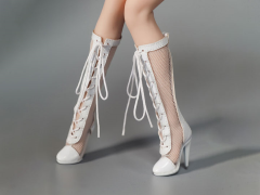 Female Fashion Fishnet Boots (White) 1/6 Scale Accessory Set
