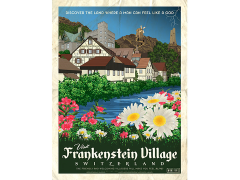 Frankenstein Village Switzerland Vintage Travel Lithograph