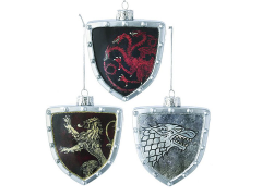 Game of Thrones Shield Glass Ornaments Set of 3