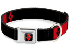 DC Comics Harley Quinn (Diamonds) SeatBelt Buckle Dog Collar