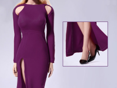 1/6 Scale Bare Shouldered Evening Dress - Purple